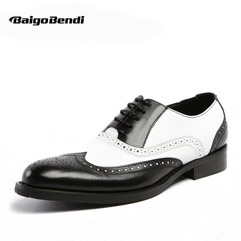 US 6-11 Hommes Rétro En Cuir Véritable Noir et Blanc Chantournage Bout Pointu Oxfords Bout D'aile Brogue Formelle Robe chaussures