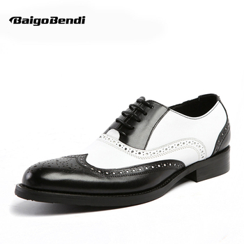 US 6-11 Men Retro Genuine Leather Black and White Fretwork Pointed Toe Oxfords Wing Tip Brogue Formal Dress Shoes