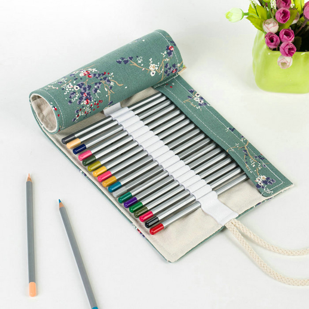 72 Hole Colored Pencil Bag Handmade Canvas Pen Roll Up School supplies Case For Art Student Painting Escolar Estuche Stationery big capacity high quality canvas shark double layers pen pencil holder makeup case bag for school student with combination coded lock