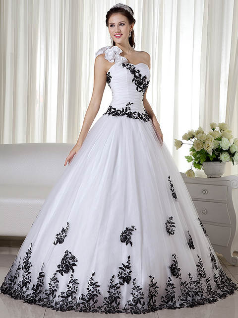ea67f05327c Black And White Tow Toned Vintage Ball Gown Wedding Dresses 1950s Princess  One Shoulder Corset Non