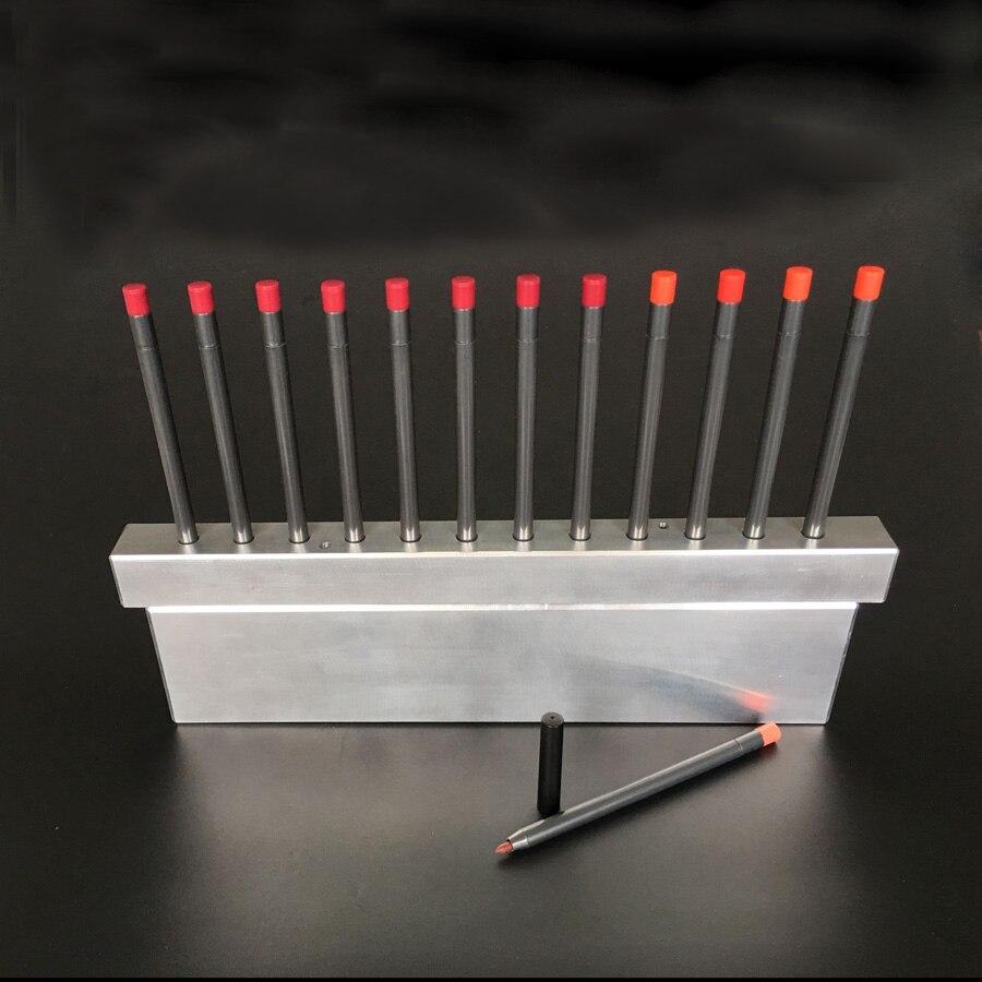 12 cavités crayon Eyeliner rotatif et crayon à lèvres moule de remplissage en aluminium comprennent étui fitter