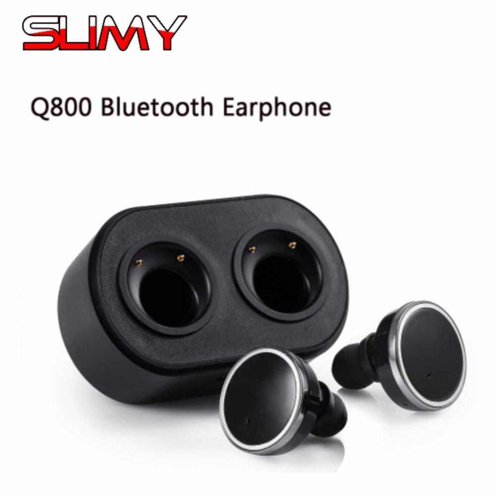 Q800 Wireless Bluetooth V4.1 Earphones Stereo in-ear Mini Earbud with Charging Station Bluetooth Earphones for iPhone 7 in Stock 5mm foam memory earbud tip for in ear earphones 10pcs