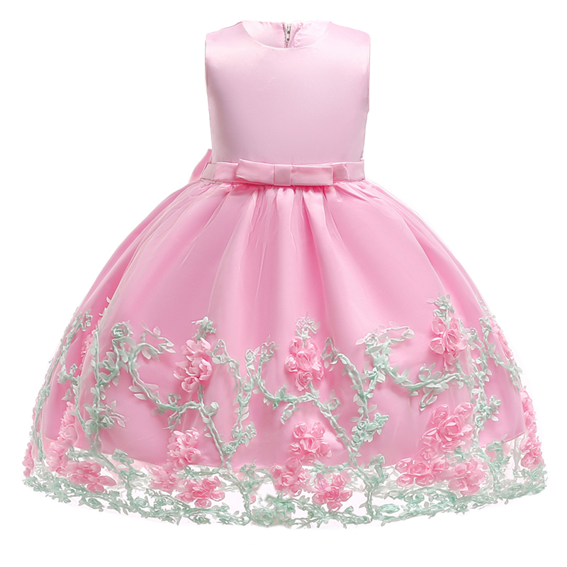 2018 Baby Girl Summer Party Dress Wedding Kids Dresses For Girls Clothing Lace Floral Birthday Princess Dress 2 3 6 7 10 Years
