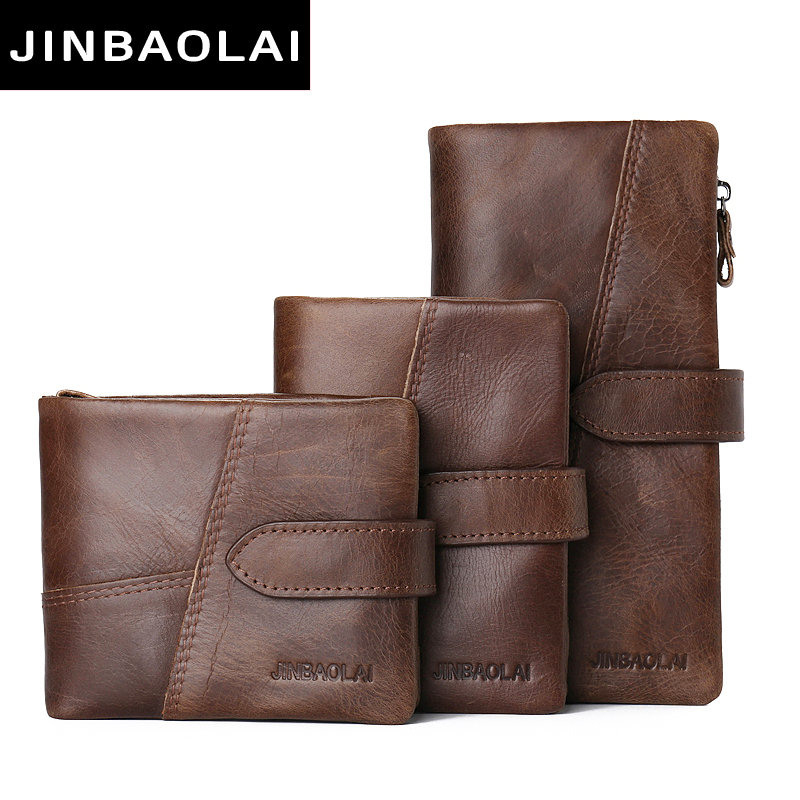 JINBAOLAI 100% Top Quality Natural Genuine Leather Men Wallets Fashion Splice Dollar Purse Carteira Masculina Mens Purse Wallets baellerry small mens wallets vintage dull polish short dollar price male cards purse mini leather men wallet carteira masculina