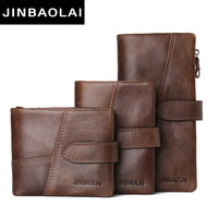 JINBAOLAI 100 Top Quality Natural Genuine Leather Men Wallets Fashion Splice Dollar Purse Carteira Masculina Mens
