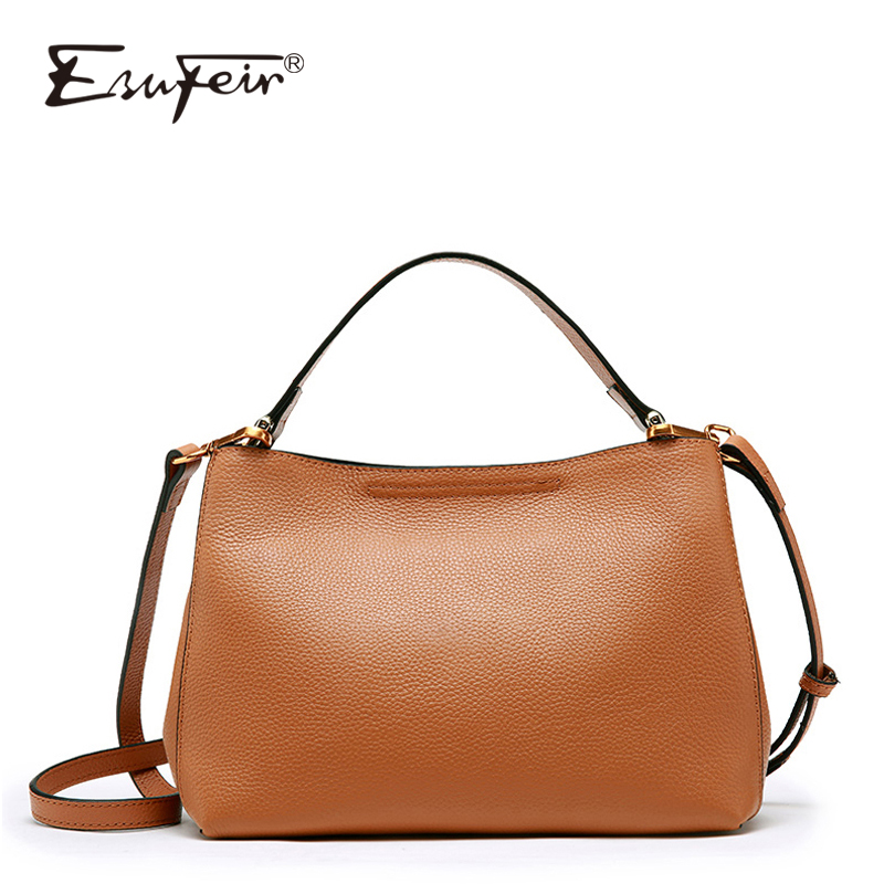 ESUFEIR Genuine Leather Shoulder Bag for Women Cowhide Messenger Bag Brand Women Handbags Fashion Crossbody Bag