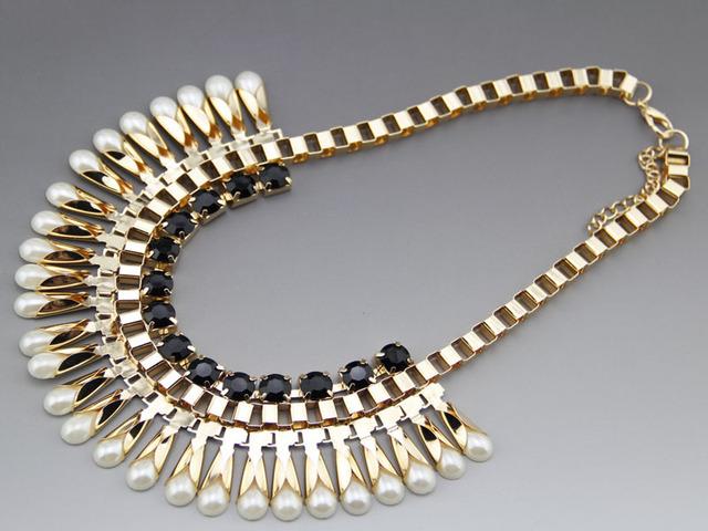 Nuevo diseño de moda de lujo collar de la joyería de oro chapado Perla collares Babero declaración Para las mujeres