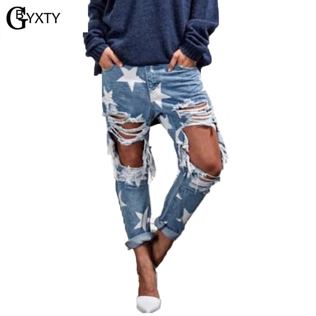 fd79cb4ea34 GBYXTY Distressed Jeans 2018 Spring Loose Boyfriend Jeans Woman Ripped Holes  Five-pointed Star Jeans