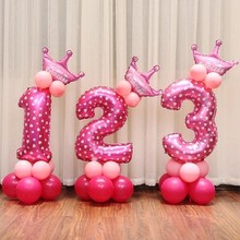 16 inch Figure Digit Number Balloons Number Foil Balloon For Decoration Happy Birthday Balloon(China)