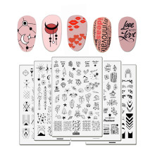 1Pc Geometry Waves Surf Nail Art Stamping Plates Big Size Flowers Words Image Gel Template Stencils Manicure Stamp Tools