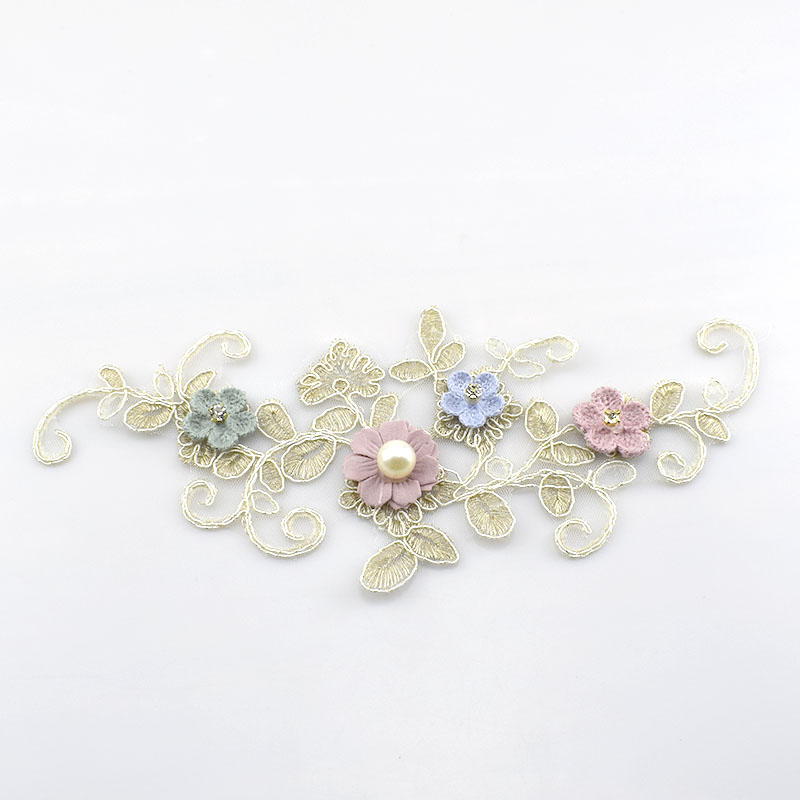 2Pcs Water Soluble Embroideried Lace Applique Gold Flower Bead Trims Wedding Decoration Dress DIY Sewinig AccessoriesKY2201 in Lace from Home Garden