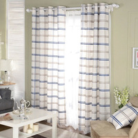 American Country Style Cotton And Linen Fabric Blue Grid Semi Shade Cloth Curtain Plaid Curtains For