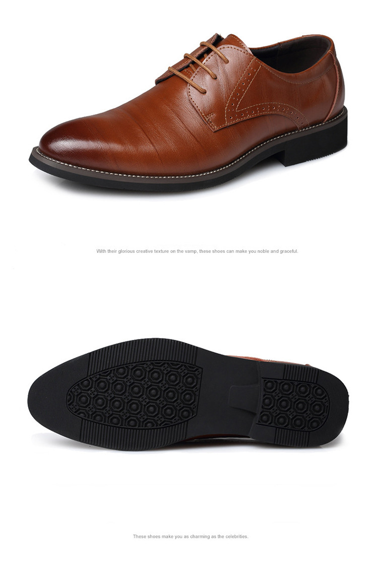 Merkmak Big Size 37-48 Oxfords Leather Men Shoes Fashion Casual Pointed Top Formal Business Male Wedding Dress Flats Wholesales 18