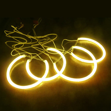 2X131.5mm 2X146mm Yellow Car CCFL Halo Rings Angel Eyes LED Headlights for BMW E46(NON projector) Light Kits #J-4174