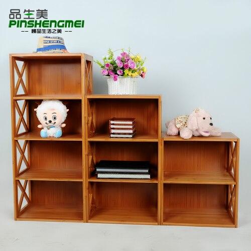 Child Bookcase Bamboo Cabinet Storage Lockers Bookshelf Simple