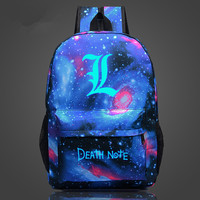 Free Shipping Backpack Death Note School Bag Children Luminous Backpacks For Teenagers Nylon Shoulder Bag Students