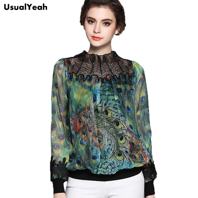 98c07758a6ca New Europe 2017 Elegant Women Stand Collar Embroidery Patchwork Long Sleeve  Blouse Peacock Feather Pattern Tops