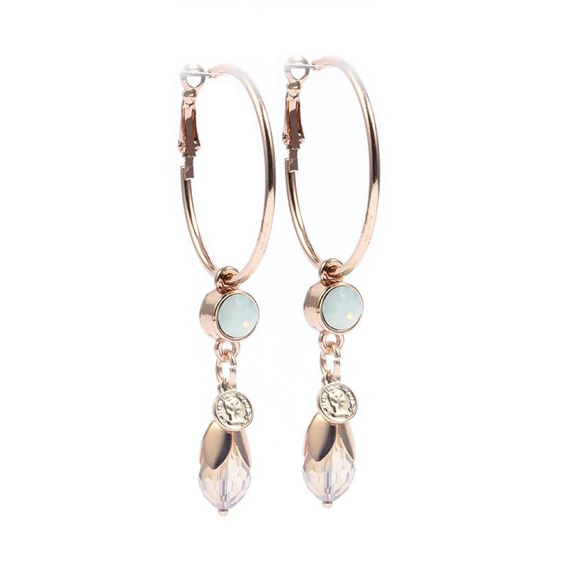 64e387610440 Sehuoran2017New pendientes grandes diseño de cristal redondo oorbellen agua  gotitas brincos pendientes para mujer Venta caliente