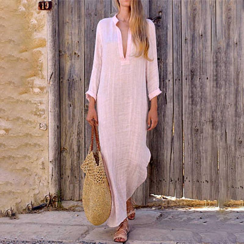 Женские С v-образным вырезом с длинным рукавом t-рубашка кофта Макси-платье типа кафтан лето-осень хлопковое льняное платье свободные платья плюс размер большой размер платья на каждый день