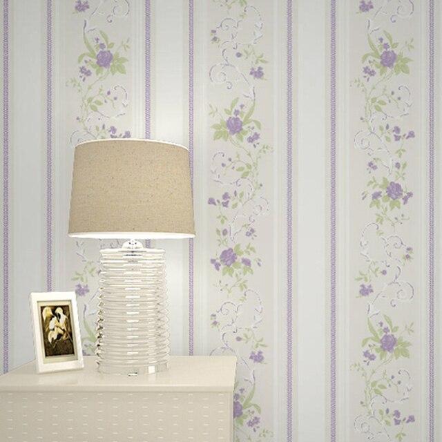 053x10m Stripes Cute Flower Wallpaper Rolls Lozenge Pink Purple Beige Blue Wall Mural For Girl