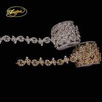 1 Yards Gold Silver Base AB Rhinestone Zircon Alloy New Style Wedding Decoration Rhinestone Chain Handmade