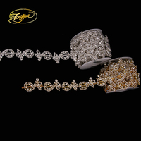 1 yards gold Silver base AB rhinestone Zircon Alloy new style wedding decoration rhinestone chain Handmade Crafts DIY Accessory
