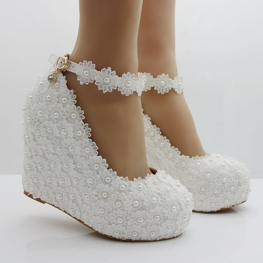 Crystal Queen White Wedges Wedding Pumps Sweet White Flower Lace