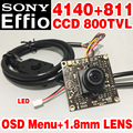 1.8mm big Wide Angle 1/3Sony CCD Effio 4140DSP+811 OSD meun Monitoring circuit board Finished HD Monitor chip mini camera module