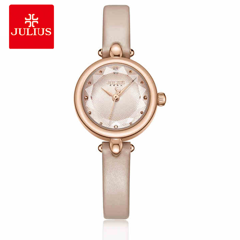 Julius Luxury Rose Gold Women Quartz Wrist Watch Vintage Small Dial Ladies Watch Female Leather Bracelet Watch Relogio Feminino cute rose gold crystal flower thin strap small dial leather quartz women ladies wristwatches wrist watch gift