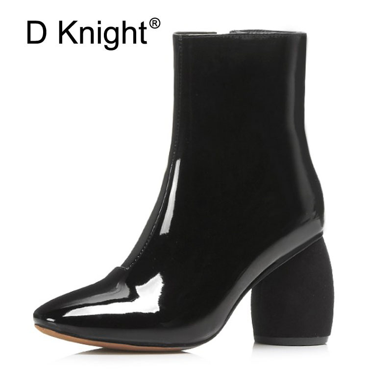 D Knight Patent Leather Ankle Boots Women Fashion Leisure Shoes Lady Girls Women 2017 Autumn Winter Boots Zip High Heels Booties amazing designer booties patent leather patchwork ankle boots chinel high heels zipper autumn motorcycle boots for women pumps