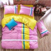 100% dacron Rosa amarelo dois tipos de cama 3/4 pcs folha de Cama/fronha/quilt cover tamanho Gêmeo/Full/Queen/King/Super King
