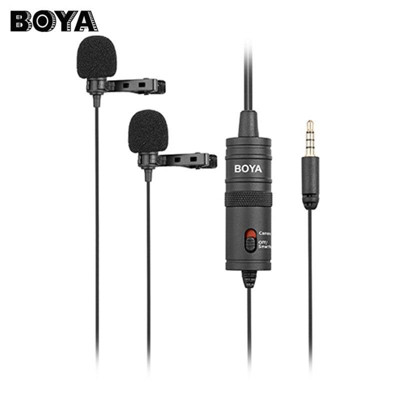 BOYA BY-M1DM Double Omnidirectionnel Cravate Microphone Clip-sur Revers Mic pour Smartphones Caméscopes Audio Enregistreur