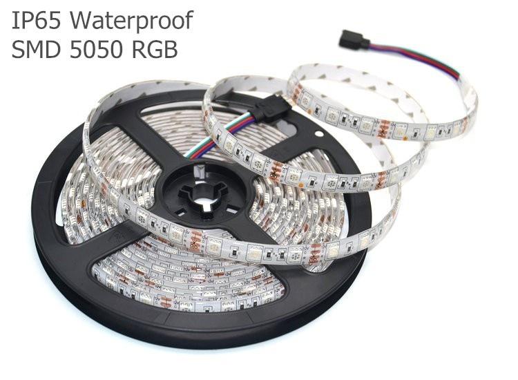 Светодиодные ленты Комплект IP65 Водонепроницаемый 5050 RGB 5 м/300LED Гибкая свет + 17key rf Беспроводной пульт дистанционного управления + адаптеры пи...