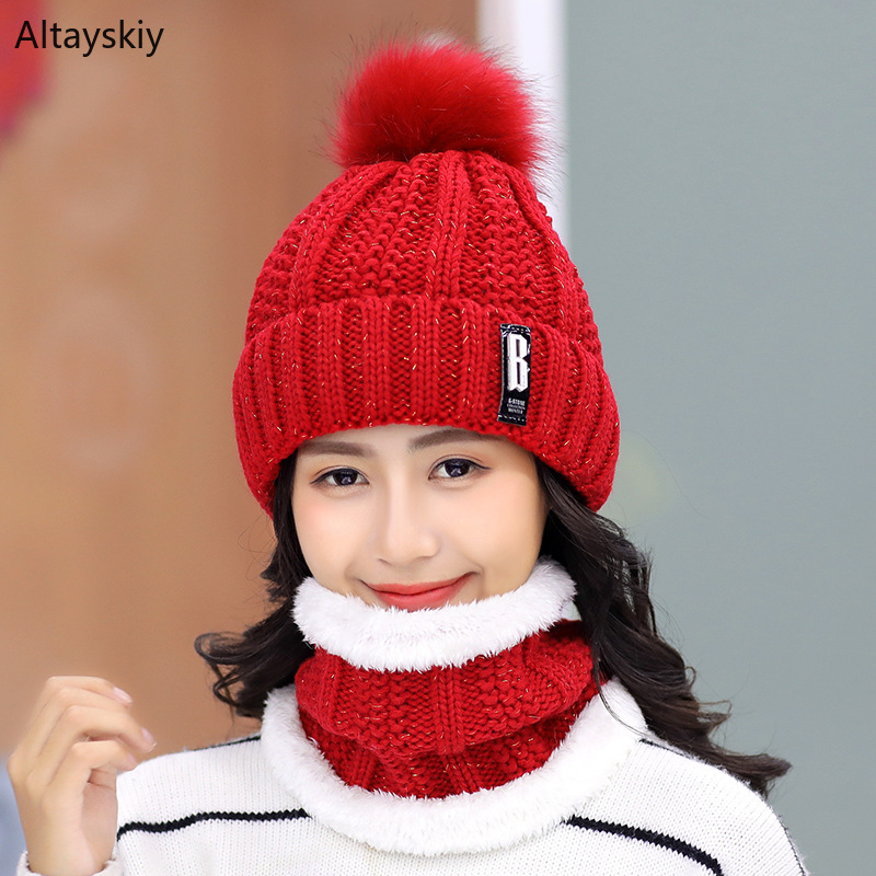 Scarf Hat Sets Women Winter Warm Plus Velvet Thickening Solid Knitted Plush Scarfs Hairball Womens Hats Trendy Simple Chic Cute