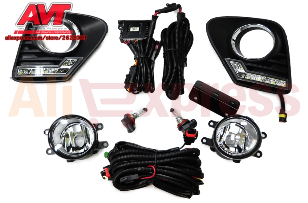 Fog lights for Toyota Corolla 2010 - 2013 with day running light car accessories styling car lights decoration automotive lamp for lexus rx gyl1 ggl15 agl10 450h awd 350 awd 2008 2013 car styling led fog lights high brightness fog lamps 1set