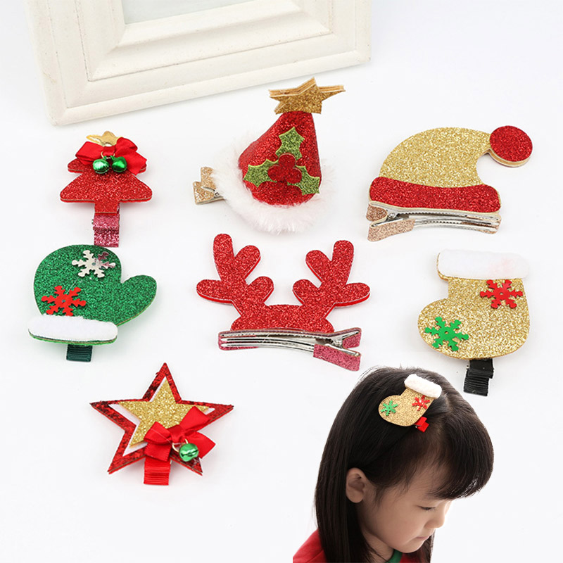 Hot Sale Children Cute Christmas Xmas Deer Boots Caps Decorate Hairpins Multi-Type Girls Popular Hair Clip