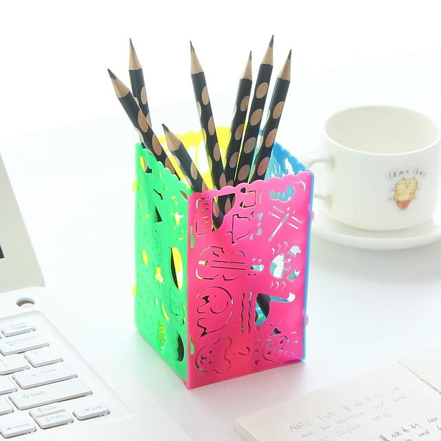 4PCS Fashion Hollow DIY Cartoon Pencil Holder Drawing Ruler Cute Plastic  Pen Holder Multifunctional Storage Barrels