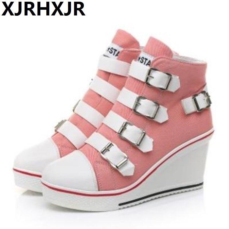 Automne hiver boucle de ceinture chaussures pour femmes compensées baskets hauteur augmenter 8 cm plate-forme chaussures mode ascenseur chaussures à talons hauts