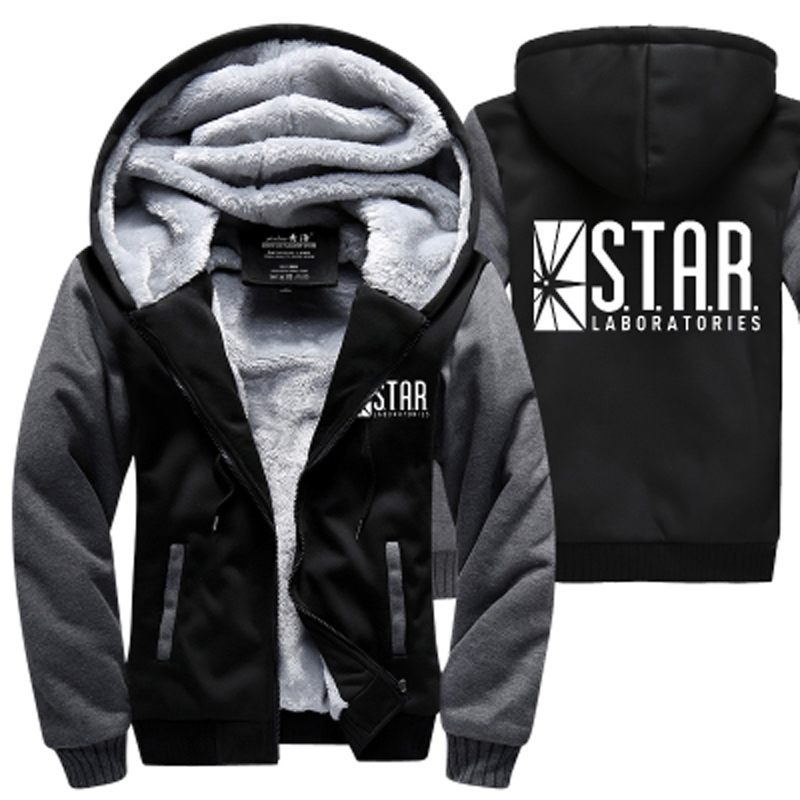S.T.A.R. STAR labs hoodies warm fleece thicken men sweatshirts 2018 winter the flash jacket fashion coat M-4XL Zippered Hooded