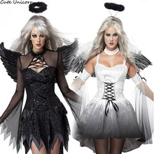 White Black Devil Fallen Angel Costume Women Sexy Halloween Party Clothes Adult Gothic Witch Costumes Fancy Dress+Headwear+Wing