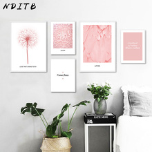 NDITB Dandelion Flower Feather Poster Nordic Style Canvas Art Print Motivation Minimalist Painting Wall Picture for Living Room