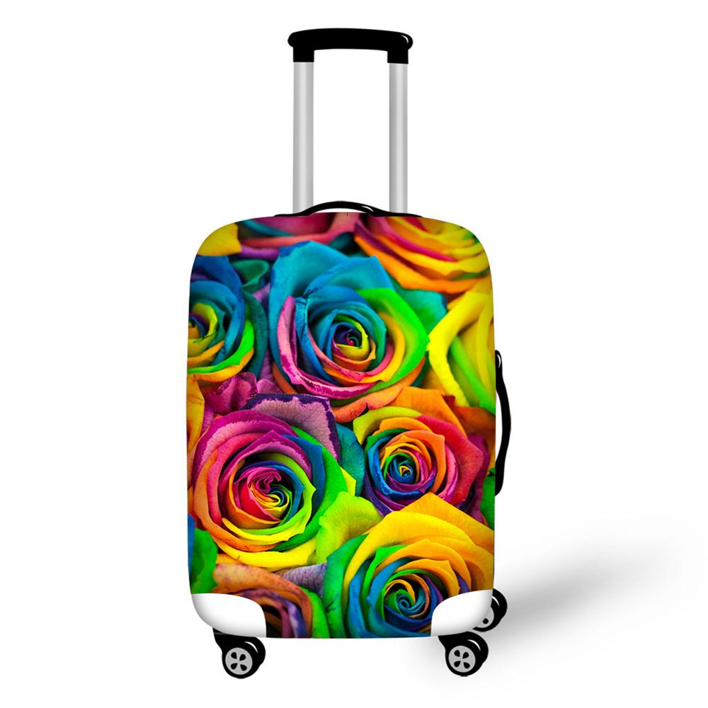Colorful Flower Printed Luggage Case Cover Rose Luggage Protective Cover For 18/20/22/24/26/28/30 Inch Case Floral Baggage Cover