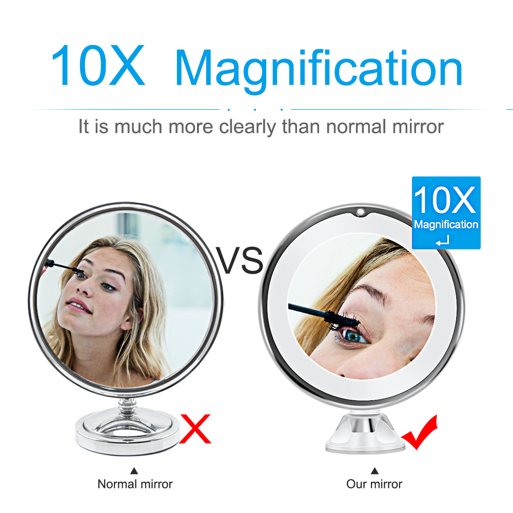 Makeup Vanity Mirror With 10X Lights LED Magnifying Mirror Cosmetic Mirrors Light Magnification LED Make up Mirrors Grossissant 5