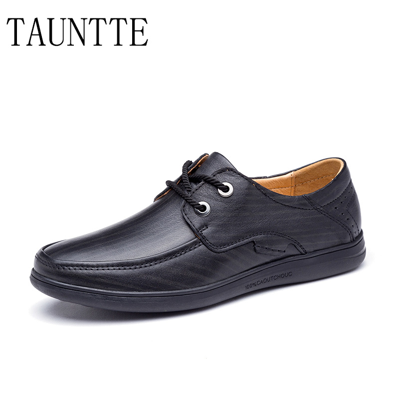 Tauntte Full Grain Leather Shoes For Men Breathable Business Casual Shoes Genuine Leather Anti-odor Shoes fashion men boat shoes genuine leather casual shoes breathable male anti odor casual shoes