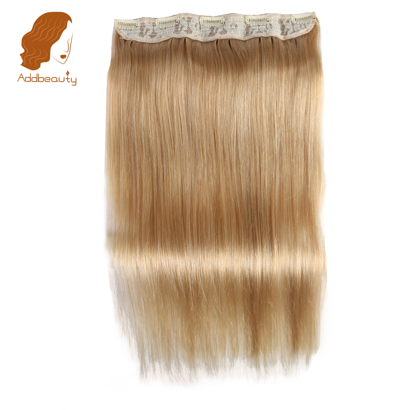 Addbeauty Straight Full Head Clip in Machine Made Remy Hair Extensions 70g-100g/pc #27 Brown Color 5 Clips in 1 piece Human Hair