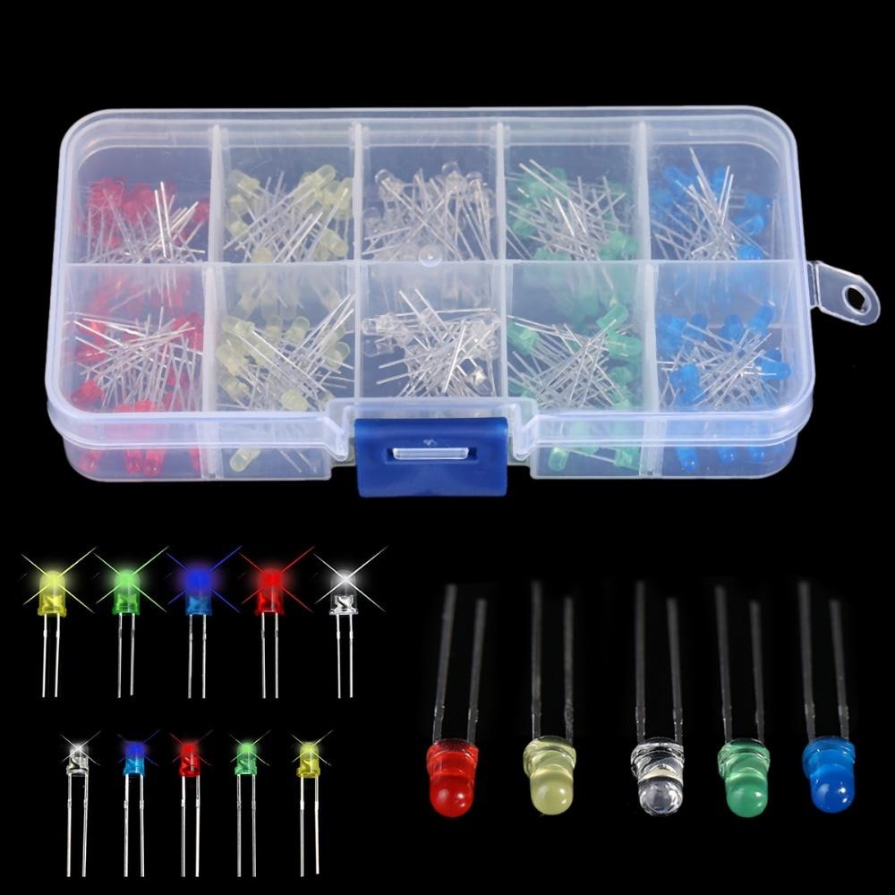 150 pièces 3/5mm Lumineux éclairage à LED Diodes Blanc Jaune Rouge Bleu Vert Mayitr Pour Appareil Ménager