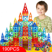 190pcs Mini Magnetic Designer Blocks Model & Building Toy Plastic Magnent Toys Constructor Educational Toys For Kids Gift