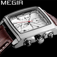 Megir relógio masculino de pulso, relógio masculino impermeável com cronógrafo militar esportivo de couro genuíno de luxo 2028