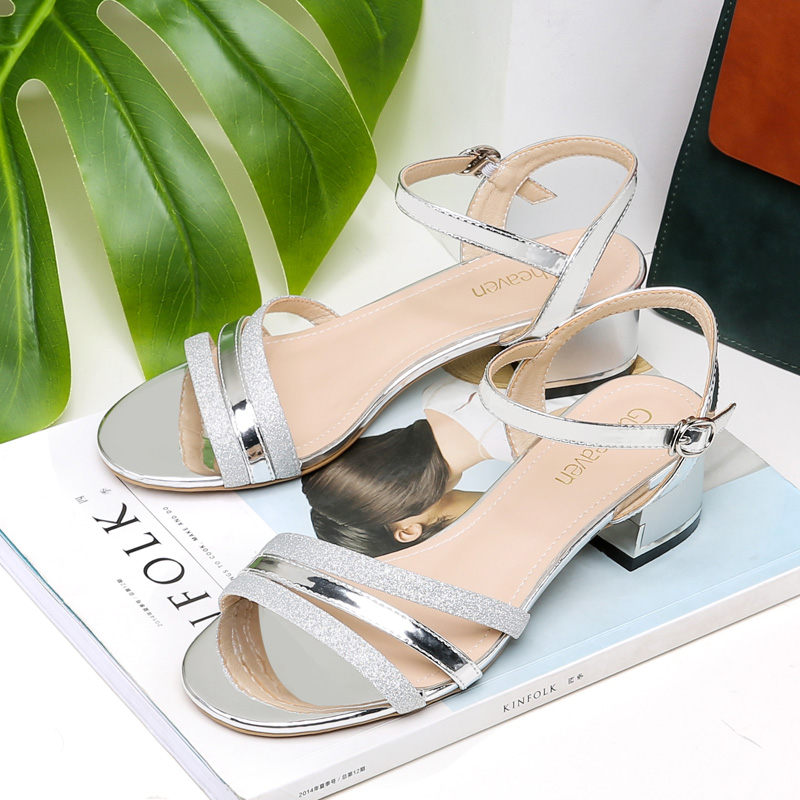 2019 Guciheaven Women Casual Sandals Sequins Sweet Princess Crystal Ankle Mid Heel Block Party Bling Silver Gold Buckle Strap-in Middle Heels from Shoes    3
