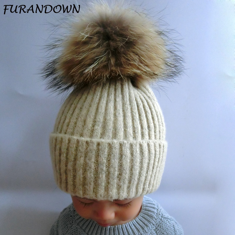 FURANDOWN Kids Fur Pompom Hat Baby Boys Girls Winter Poms Beanie Hats Wool Knitted Warm Caps For Children 2017 jeans for women new elasticity denim pencil pants elastic waist small jeans plus size xl 5xl fashion spliced blue jeans
